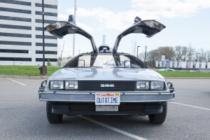 APRIL 26 2015 - Woodbridge NJ: A replica of the Back to the Future DeLorean is shown at the Cars of the Hollywood Screen car show.