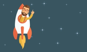 Young hipster with a beard inside the rocket flying in a space.