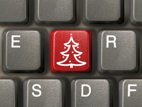 Computer keyboard, key with christmas tree, close-up